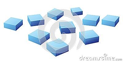 Many blue cubes