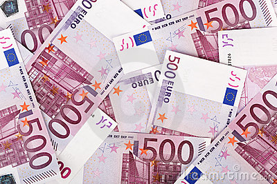 Many  bundle of 500 Euro bank notes