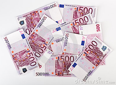 Many  Bundle Of 500 Euro Bank Notes Stock Photo - Image: 14362190