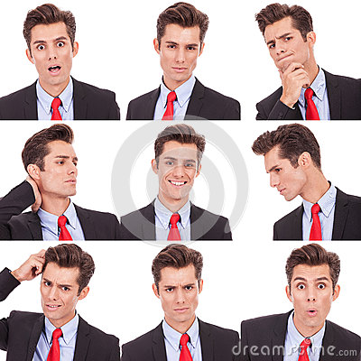 Many business man facial emotional expressions