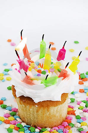 Many Candles Cupcake - One Lit Candle