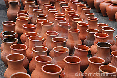 Many ceramic jugs outsides