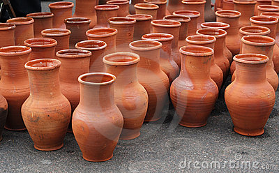 Many ceramic jugs outsides