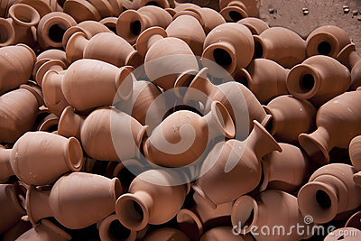 Many clay pots in the workshop