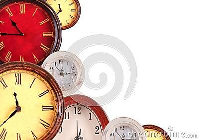 Many clocks on a white background