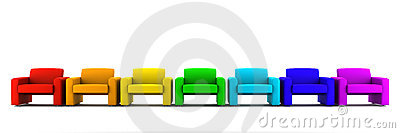 Many color armchairs isolated on white