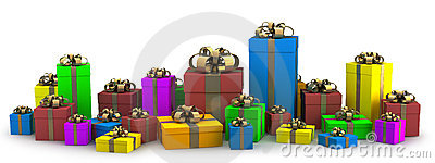 Many color gift boxes isolated on white