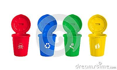 Many color wheelie bins set Cartoon Illustration