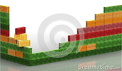Many colored bricks wall
