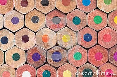 Many colored pencils butt ends closeup