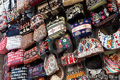 Many colorful bags for women.