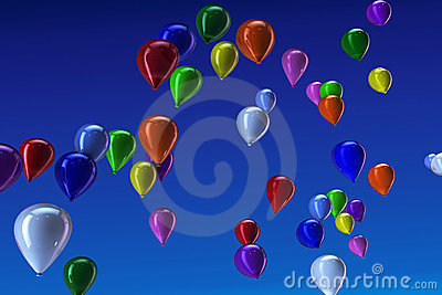 Many colorful balloons in the sky