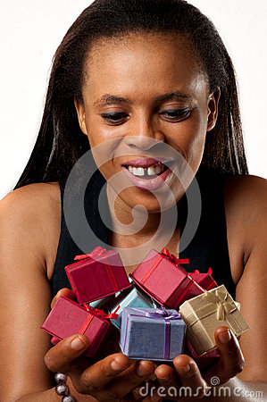 gift holding African American woman