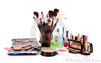 Many colourful woman cosmetics