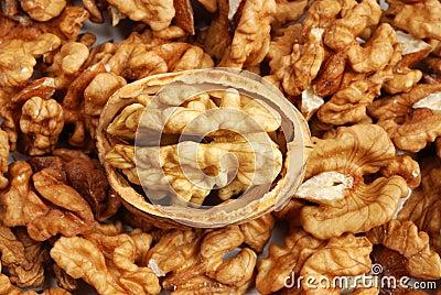 Many cracked walnuts