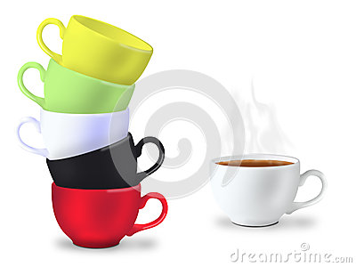 Many cups for tea time