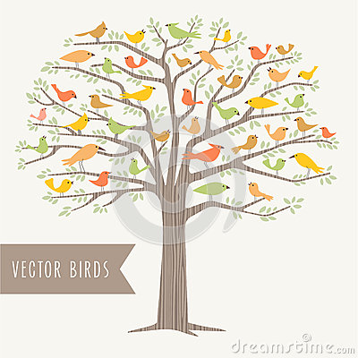 Free Many Different Birds In A Tree At Springtime Royalty Free Stock Images - 50872599