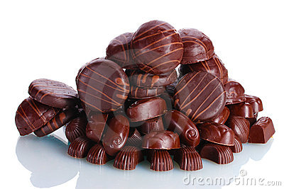 Many different chocolate candy