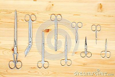 Many different scissors
