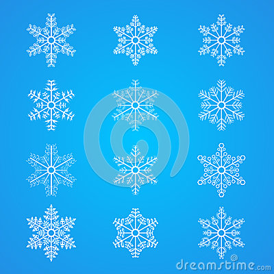 Many different Snowflakes icon collection