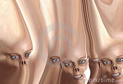 Many Distorted Monster Faces