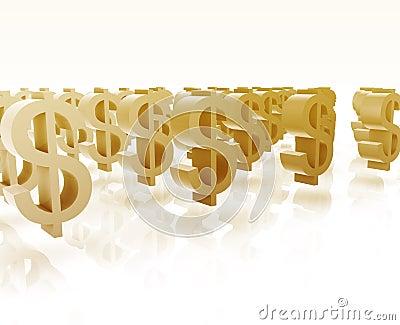 Many dollar symbols