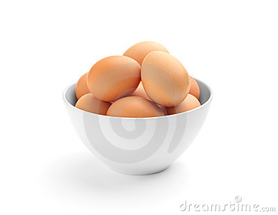 Many eggs in a porcelain bowl