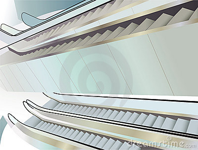 Many escalators indoor, view from above