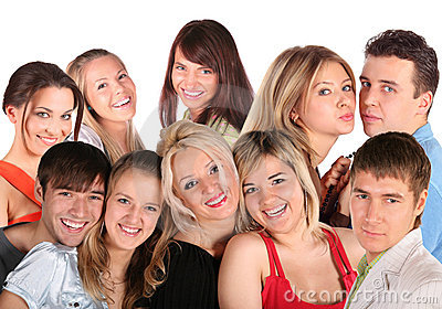 Many faces young people, collage
