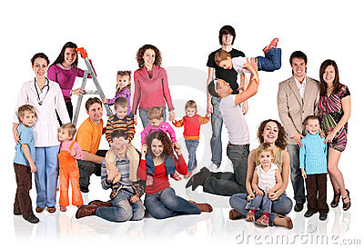 Many families with children group