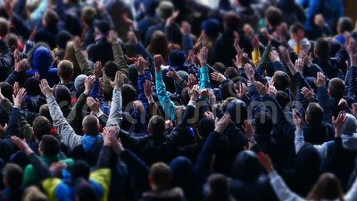 Many fans applauding and supporting soccer team at stadium, sporting event. Stock footage stock footage