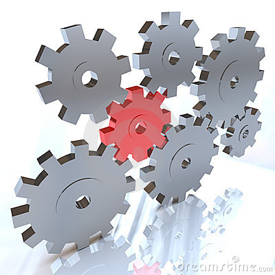 Many Gears Turning Together, One in Red