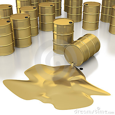 Many golden oil barrels with pool of oil