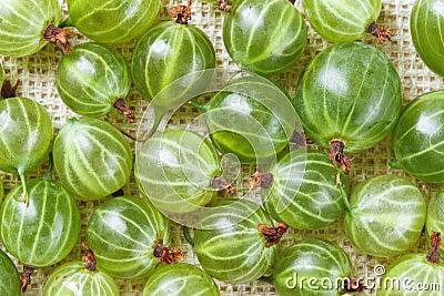Many gooseberry fruits on gray linen