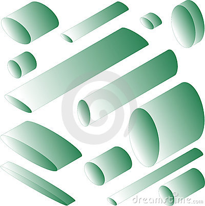 Many green cylinder isolated in white background
