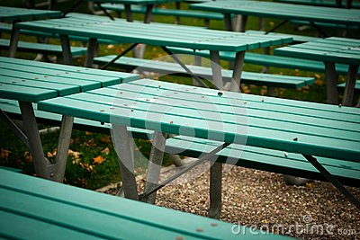 Many Green Picnic Tables