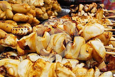 Many of grilled squid in fresh market