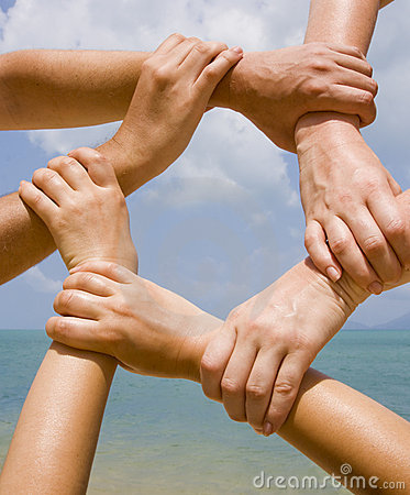 Free Many Hands Connecting To A Chain Stock Photo - 13119730