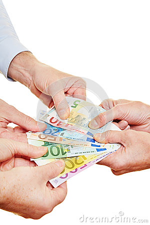 Many hands pulling on Euro money
