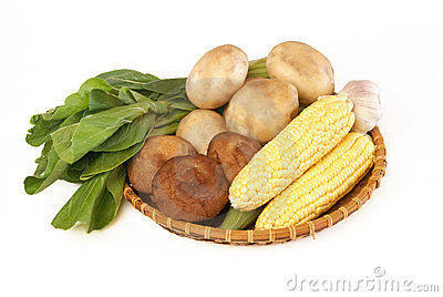 Many of the ingredients in a basket