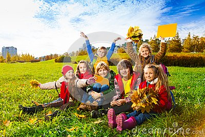 Many kids in autumn kids