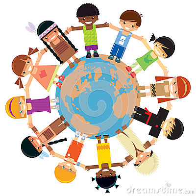 Many children holding their hands around Earth