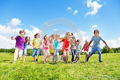 Many kids running