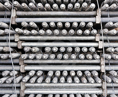 Many layers of machine bolts