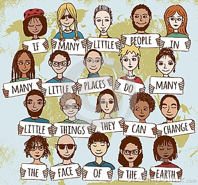 Free Many Little People Showing Kindness Around The World Royalty Free Stock Photography - 63487677