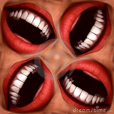 Many Mouths Seamless Tile Pattern Background 3
