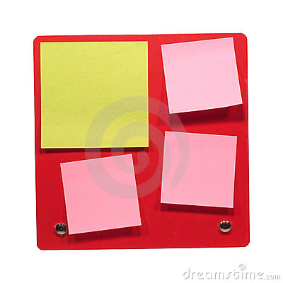 Many office posts on red board close-up