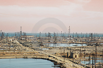 Many oil derricks
