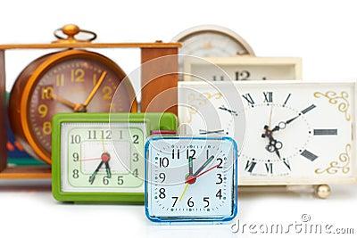 Many old clocks
