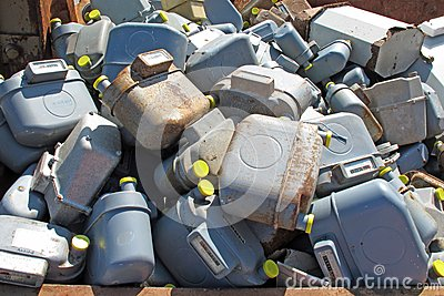 Many old gas counters thrown in waste landfill